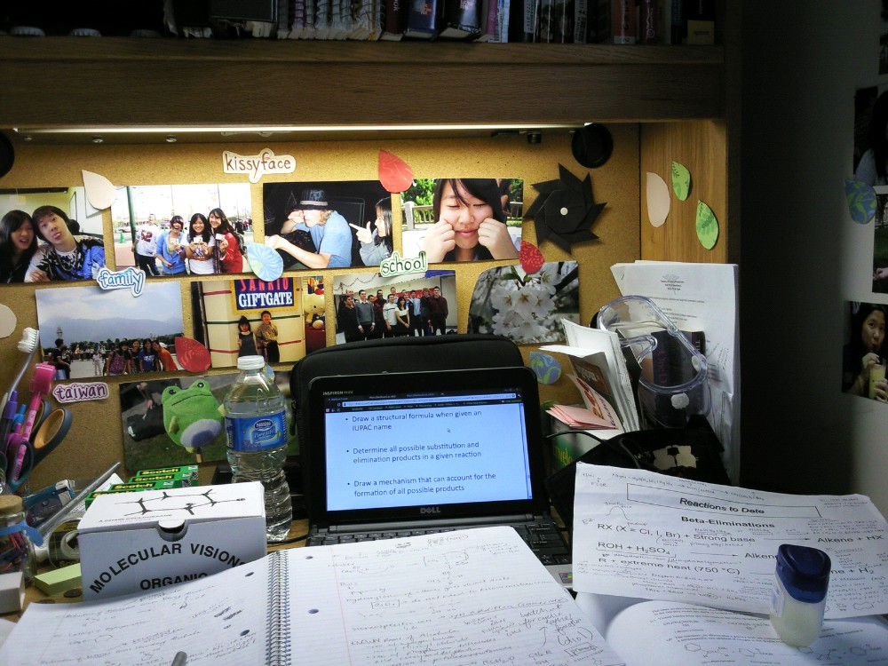 Studying for my organic chemistry exam at my desk in MRH