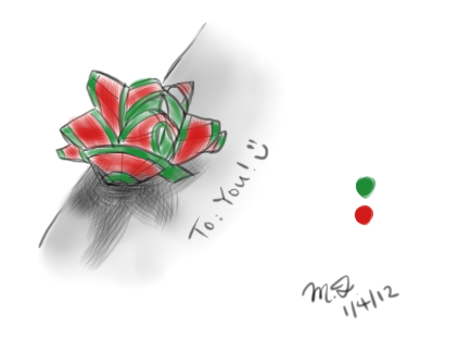 I drew an undetailed Christmas bow that Rita, a post-masters student in the lab I work at, gave me on my desk!