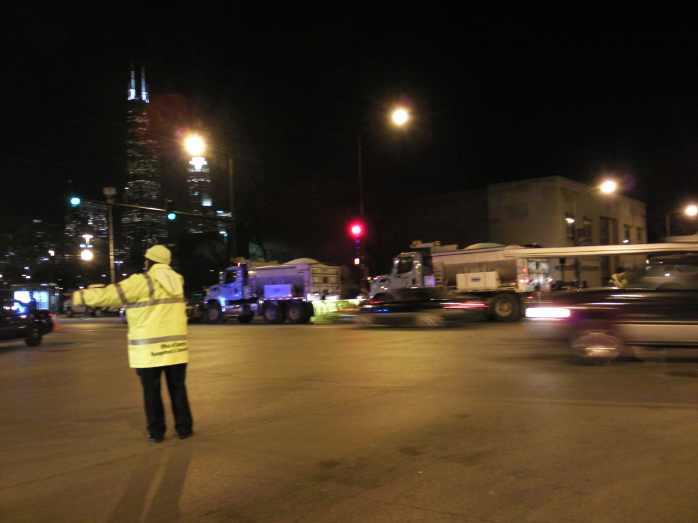 Obama came to the UIC Forum and there were tons of snow trucks blocking the road and waiting to plow!