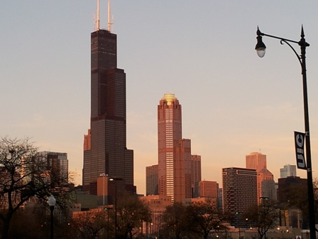 Red-Orange Tint on Sears Tower and UIC
